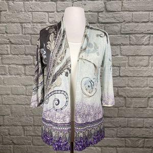 Chico's Grey & Purple Paisley Cardigan